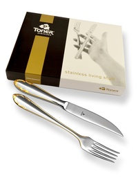 6-piece steak cutlery sets / gold plated