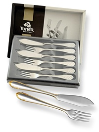 6-piece fish cutlery sets / gold plated