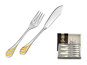 MELODIE GOLD fish cutlery 6-piece - prestige packaging