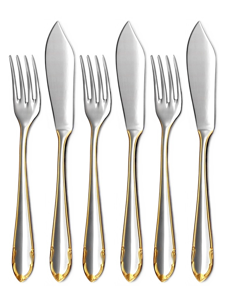 CLASSIC GOLD fish cutlery 6-piece - prestige packaging