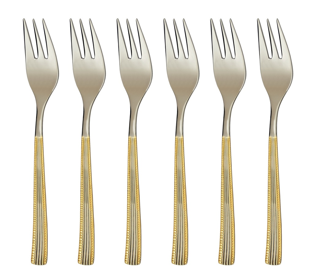 NORA GOLD cake fork 6-piece - prestige packaging
